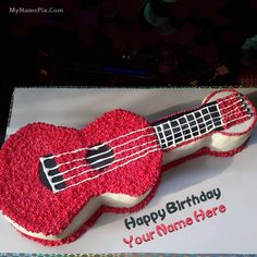 Best #1 Website for name birthday cakes. Write your name on Guitar Birthday Cakes picture in seconds. Make your birthday awesome with new happy birthday greetings cakes. Get unique happy birthday cake with name.