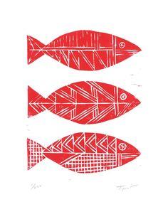 Linocut Prints, Art Prints, Water Art, Illustration Art, Pattern Illustrations, Fish Design, Fish Print, Sgraffito, Red Fish