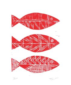 Cool artwork for the lake. Limited Edition Three Tribal Fish Nautical Illustration Linocut Art Print / 8 x 10 Home Decor / Red, Navy Blue