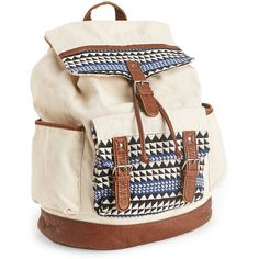 Aeropostale Triangle Embroidery Backpack ($35) ❤ liked on Polyvore featuring bags, backpacks, accessories, bolsa, purses, cream, travel backpack, travel bag, drawstring pouch and faux-leather backpack
