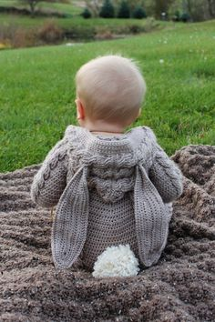 The Blair Bunny Suit makes a wonderful gift or photo prop! This warm and cozy suit is both practical and stylish and sure to impress everyone! Perfect for Halloween or Easter! Baby Bunny Costume, Baby Costumes, Baby Knitting Patterns, Baby Patterns, Crochet Patterns, Crochet Baby Clothes, Newborn Crochet, Bunny Suit, Suit Pattern