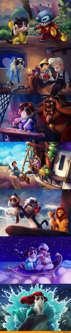 Personajes de Disney interpretados por Grumpy Cat.