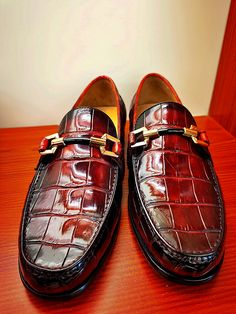 Men's alligator slip-On loafer for sale. The shoe artisans who handcraft these fine exotic skin shoes are veterans, some who have been making shoes by hand for generations. Mens Loafers Shoes, Loafer Shoes, Men Fashion, Luxury Fashion, Gents Shoes, Gentleman Shoes, Formal Shoes For Men, How To Make Shoes, Bespoke