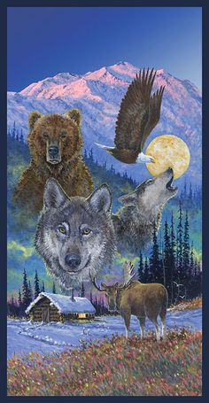 Territorial Trail Wolf Cotton Fabric Quilting Craft Panel Wild Wings