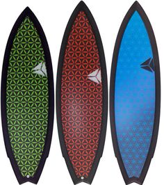 Couple of USC Mutant model surfboards with flower of life sacred geometrical art