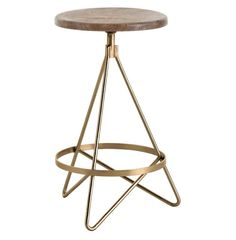 Windham Industrial Vintage Brass Wood Iron Swivel Counter Stool | Kathy Kuo Home