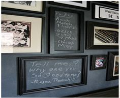 i love a good frame wall and throwing in these framed blackboards is a great idea!