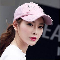 Personalized safety pin baseball cap with holes for women UV protection sun  hat. Spring WearSummer ... 6a9169845bca
