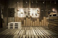 pallet wood floors   Pop-Up Shoe Shop in Poland Made Entirely from Reused Wooden Pallets ...