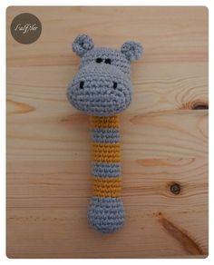 Sonajero amigurumi hipopótamo de crochet - tejido a mano - en DaWanda.es