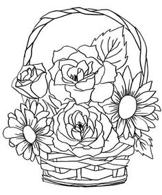 Cat Coloring Page, Flower Coloring Pages, Coloring Pages To Print, Coloring Book Pages, Embroidery Patterns, Hand Embroidery, Free Adult Coloring, Angel Drawing, Art Drawings For Kids