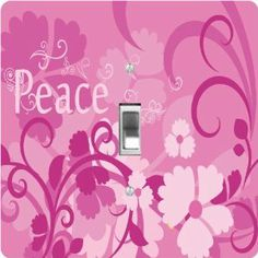"""Rikki KnightTM Pink Peace Design - Single Toggle Light Switch Cover by Rikki Knight. $13.99. The Pink Peace Design single toggle light switch cover is made of commercial vibrant quality masonite Hardboard that is cut into 5"""" Square with 1'8"""" thick material. The Beautiful Art Photo Reproduction is printed directly into the switch plate and not decoupaged which make these Light Switch Plates suitable for use in any room in the office, home, etc. etc.. These Ligh..."""