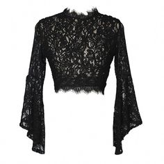 Gothic Wiccan Lace Sheer Flare Sleeves Crop Top - All About Cropped Tops, Lace Crop Tops, Black Lace Crop Top, Black Lace Top Outfit, Crop Top With Sleeves, Lace Outfit, Solid Black, Crop Top Styles, Alternative Mode
