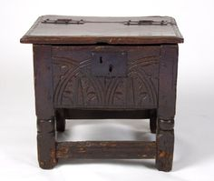 Oak box stool, 1600. Some of these would solve both our non-period seating issue and our tendency to leave random crap lying all around camp...