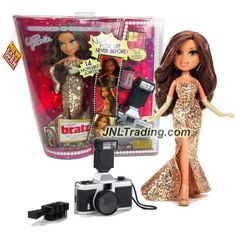 MGA Entertainment Bratz The Movie Series 10 Inch Doll Set - Movie Stars YASMIN in Golden Dress with Gloves, Film Roll, Hairbrush and Camera