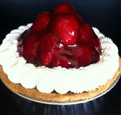 Fresh Strawberry pie made with vanilla cream and fresh strawberries. There is nothing to compare this delectable dessert to!