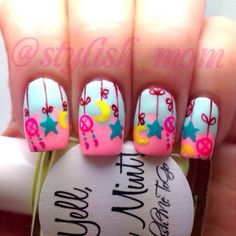 Would be cute for a baby shower, like a mobile Great Nails, Cool Nail Art, Fun Nails, Sexy Nails, Wide Nails, Mobile Nails, Nailart, Manicure E Pedicure, Baby Shower