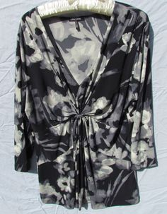 Daisy Fuentes floral shirt.  Womens SizeXL, Grey and Black #DaisyFuentes #Blouse #Career
