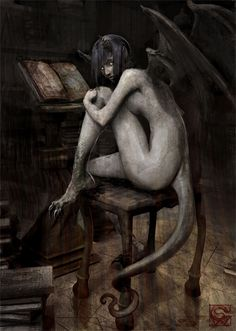 by Shawn G. Wood. Fantasy art, demon, with horns, wings, tail, claws.