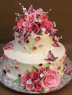 Happy Birthday Wishes Cake, Happy Birthday Cake Images, Happy Birthday Flower, Beautiful Birthday Cakes, Beautiful Wedding Cakes, Gorgeous Cakes, Pretty Cakes, Teen Birthday, Birthday Ideas