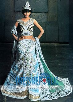 Regal Mermaid :: Top: Aqua Ice crepe silk shirt has stunning sequins and floral embellishments all over.
