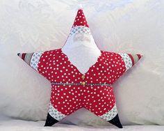 Christmas Pillow Santa Claus Star Shaped by HolidaySpiritsDecor, $40.00