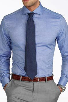 New shirt in stock! Let's welcome an office outfit essential - the Blue Donny shirt. With a light and stretch fabric, this is a great… Formal Dresses For Men, Formal Men Outfit, Formal Shirts For Men, The Office Shirts, Blue Shirt Outfit Men, Men Shirt, Business Casual Men, Men Casual, Moda Formal