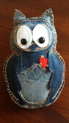 Denim Owl Pin Cushion