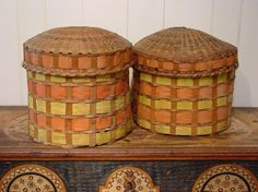Rare and Important pair of Native  American Dome-Top, lidded baskets. Circa 1845 made by Woodlands Indians of New England. Have remnants of the original newspaper lining dated dec. 26, 1845.