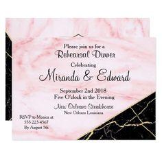 Rose Gold & Black Marble Rehearsal Dinner Wedding Card