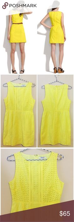 """Madewell Eyelet Trail Yellow Shift Dress -- Size 2 Madewell Eyelet Trail Yellow Shift Dress --- Size 2 --- like new, no imperfections or signs of wear --- cotton --- fitted at waist --- straight skirt --- back zipper --- 17"""" bust --- 14"""" natural waist --- 32.5"""" length --- thank you for visiting my boutique, please feel free to ask any questions 🌺🌺🌺 Madewell Dresses"""