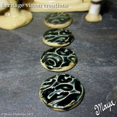 Fairy Garden Stepping Stones Set #91 | Round Stoneware with Leopard Print Pattern, Set of 4, Licorice Black by HeritageVision on Etsy