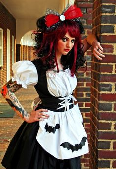 gothic ragdoll halloween costume with bats lolita black dress small medium large xl or - Black Dynamite Halloween Costume