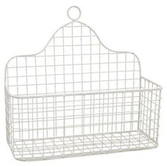 "Crafted from metal and showcasing a gridded wire design, this versatile wall basket is perfect for stowing spices in the kitchen or mail in the entryway.  Product: Wall basketConstruction Material: MetalColor: WhiteFeatures: Ready to hangDimensions: 14.5"" H x 15.5"" W x 6.5"" D"