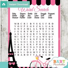 Fun To Play Printable Pink Paris Eiffel Tower Shower Games Keep Your Guests Entertained This Baby Game Package Includes 10 Mommy Tummy Siz