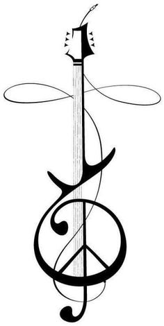 Guitar & Cross - minus the peace symbol - perfect for my tattoo in memory of my brother, Jason! Music Symbol Tattoo, Symbol Tattoos, Music Tattoos, Foot Tattoos, Tattoo Fonts, Flower Tattoos, Tattoo Quotes, Guitar Tattoo Design, Music Tattoo Designs
