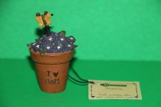 Blossom Bucket I love Mom flower pot figurine by Suzi ~ Mother's Day Gift