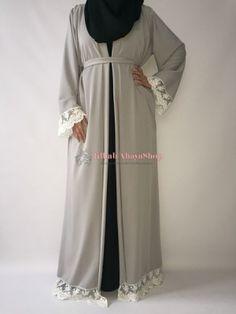 Abaya Kimono Imperia gris clair  www.jilbab-abayashop.fr