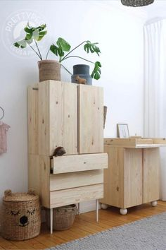 Pretty Movement - The place to be to check out inspiring IKEA Hacks. - Prettypegs - Six Fab Ikea Ivar Hacks! Decor Room, Bedroom Decor, Home Decor, Ikea Bedroom Storage, Ikea Ivar Cabinet, Ideas Habitaciones, Deco Kids, Furniture Legs, Outdoor Furniture