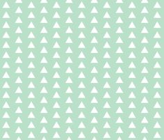 White Triangles on Mint fabric by modfox on Spoonflower - custom fabric