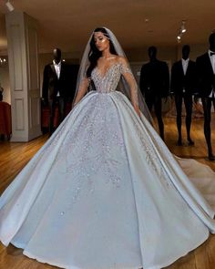 Luxurious Sparkly 2019 African Wedding Dresses Sheer Neck Long Sleeves Bridal Dresses Beaded Sequins Satin Wedding Gowns White Ball Gown Wedding Dress Ball Gown Princess Wedding Dresses From Chic_cheap, € Long Sleeve Bridal Dresses, Sheer Wedding Dress, Wedding Dress Gallery, African Wedding Dress, Long Wedding Dresses, Princess Wedding Dresses, Bridal Gowns, Lace Dress, Arabic Wedding Dresses