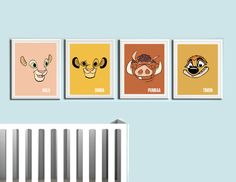 Lion King Nursery Prints 4 Pack  4 Prints 1-Simba 1-Nala 1-Timon 1-Pummba  8.5x11 Print Printed on 80lb high quality glossy photo paper Frame not included Colors vary monitor to monitor  shipped in durable cardboard photo mailer