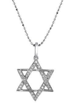 star of david necklace | 14kt White Gold Star Of David Necklace .14 Carat TW