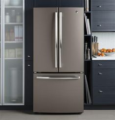 GE GWE19JMLES 33 Inch Slate Series Counter Depth French Door Refrigerator with 18.6 cu. ft. Capacity in Slate | Appliances Connection Slate Appliances, Best Appliances, Kitchen Appliances, Kitchen Cabinets, Kitchen And Bath, Kitchen Reno, Slate Kitchen, Kitchen Remodeling, Remodeling Ideas