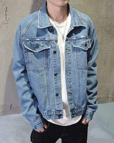 Deckle Edge Design Double Pockets Turn-Down Collar Long Sleeve Denim Men's Jacket
