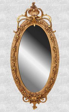 Mid 1800 Rococo Victorian oval mirror