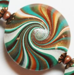 Polymer Clay Beads, Swirl Beads, Teal, Turquoise, Verdigris, Copper, Bronze, Swirled Lentils with Bead Caps...Desert Sunset