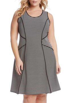 Karen Kane Contrast Binding Stripe A-Line Dress (Plus Size)