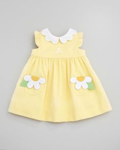 Florence Eiseman Monogrammed Pincord Dress with Daisy Pockets, Yellow, Months - Babykleidung Little Dresses, Little Girl Dresses, Girls Dresses, Vintage Baby Dresses, Sexy Dresses, Evening Dresses, Casual Dresses, Baby Dress Patterns, Skirt Patterns