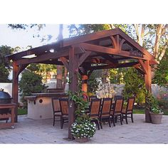 The LODGE II PERGOLA will create an attractive focal point and an enjoyable space for your family and friends. This pergola will bring all of your outdoor elements together and create an authentic mountain lodge feel! Patio Pergola, Pergola Shade, Patio Roof, Pergola Plans, Outdoor Landscaping, Pergola Ideas, Backyard Ideas, Pergola Swing, Patio Ideas